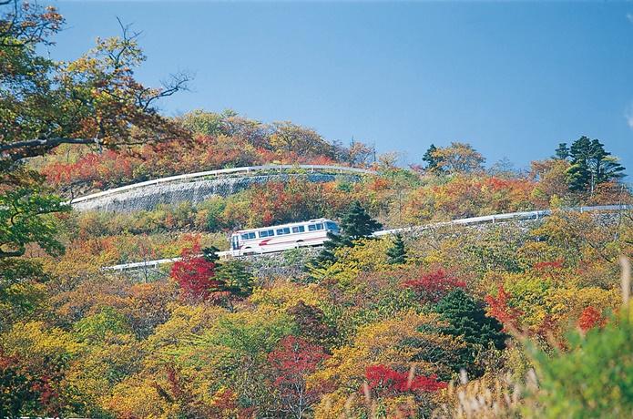 蔵王の紅葉のハイラインの画像