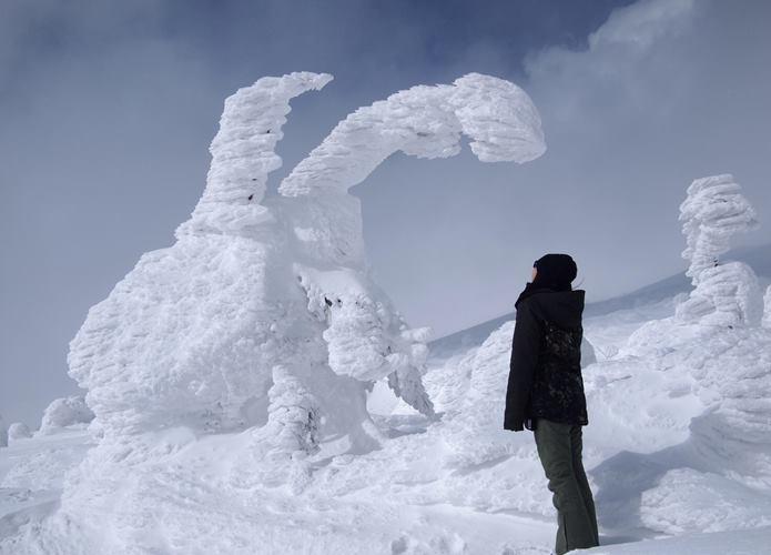 宮城蔵王の樹氷と観光客