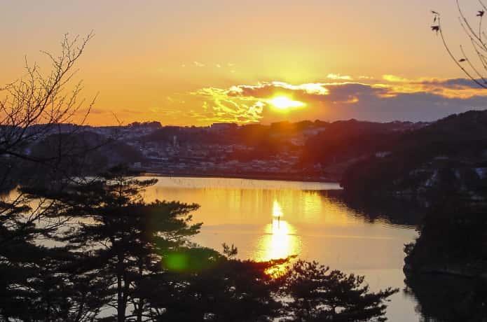 双観山の夕日