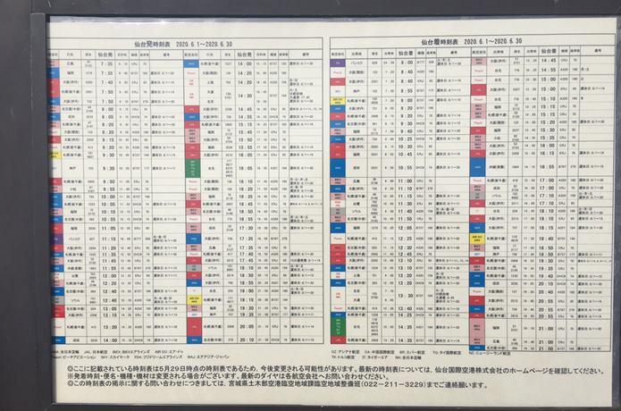 仙台臨空公園にある飛行機のフライト時刻表