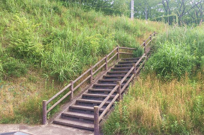 雷神山古墳に続く階段